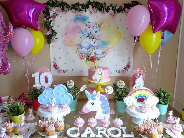 Unicorn Themed Dessert Table from a Unicorn Princess Birthday Party on Kara's Party Ideas | KarasPartyIdeas.com (6)