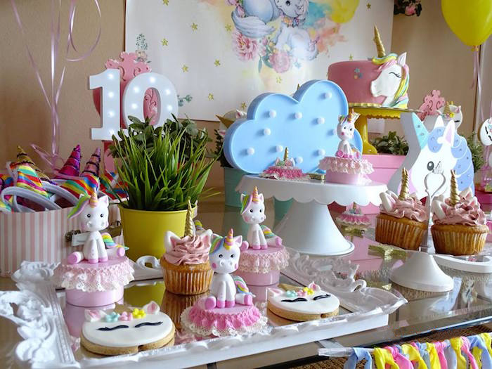 Unicorn Themed Dessert Table from a Unicorn Princess Birthday Party on Kara's Party Ideas | KarasPartyIdeas.com (18)