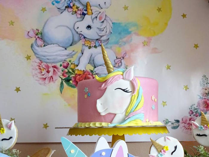 Unicorn Cake from a Unicorn Princess Birthday Party on Kara's Party Ideas | KarasPartyIdeas.com (17)