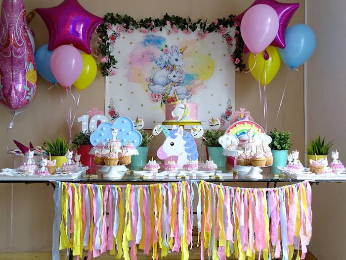 Unicorn Themed Party Table from a Unicorn Princess Birthday Party on Kara's Party Ideas | KarasPartyIdeas.com (16)
