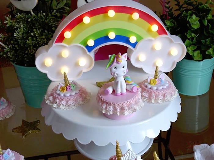 Frilly Unicorn Favors + Rainbow Marquee Light from a Unicorn Princess Birthday Party on Kara's Party Ideas | KarasPartyIdeas.com (13)