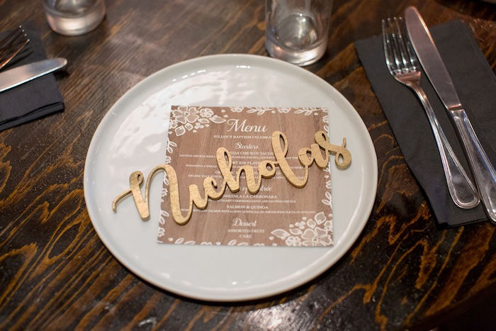 Wooden Name Plate - Table Setting from a Vintage Baptism Party on Kara's Party Ideas | KarasPartyIdeas.com (19)
