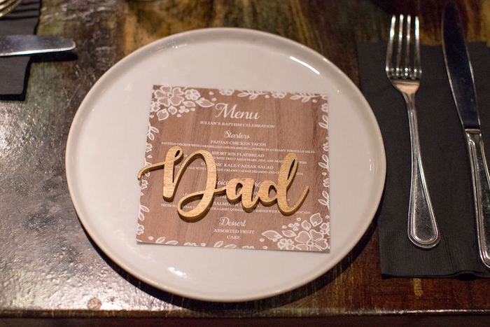 Wooden Name Plate - Table Setting from a Vintage Baptism Party on Kara's Party Ideas | KarasPartyIdeas.com (18)