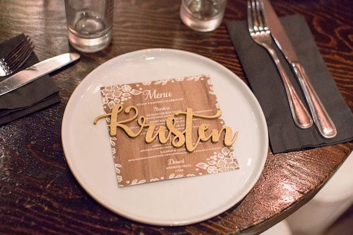 Wooden Name Plate - Table Setting from a Vintage Baptism Party on Kara's Party Ideas | KarasPartyIdeas.com (17)