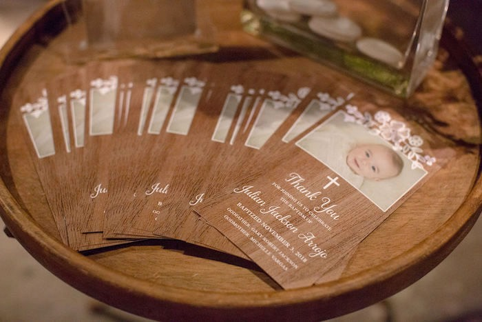 Custom Wood Grained Thank You Cards from a Vintage Baptism Party on Kara's Party Ideas | KarasPartyIdeas.com (16)