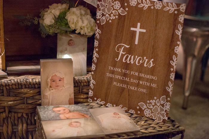 Favor Table + Signage from a Vintage Baptism Party on Kara's Party Ideas | KarasPartyIdeas.com (15)