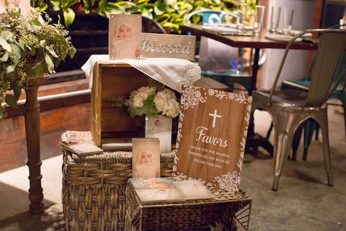 Favor Table + Signage from a Vintage Baptism Party on Kara's Party Ideas | KarasPartyIdeas.com (14)