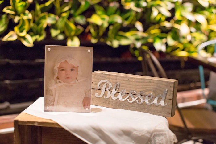 Blessed - Wood Sign from a Vintage Baptism Party on Kara's Party Ideas | KarasPartyIdeas.com (8)