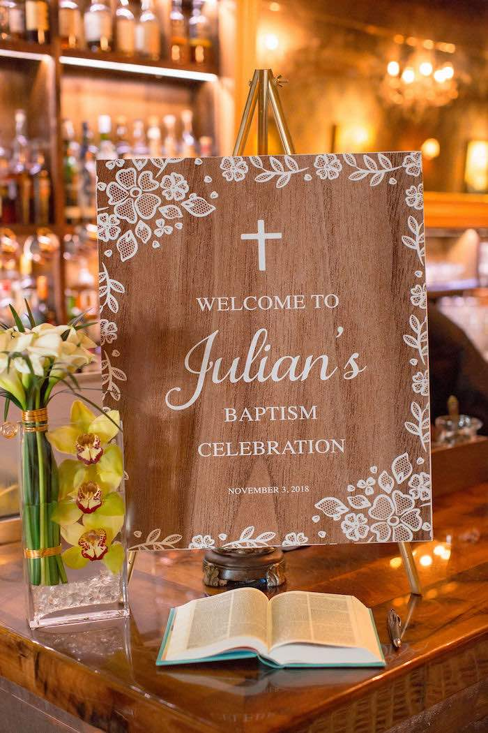 Wood Welcome Sign from a Vintage Baptism Party on Kara's Party Ideas | KarasPartyIdeas.com (28)
