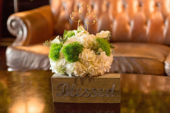 Blessed - Wood Box Floral Arrangement from a Vintage Baptism Party on Kara's Party Ideas | KarasPartyIdeas.com (27)
