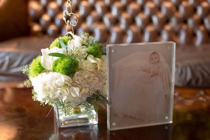 White & Green Floral Arrangement from a Vintage Baptism Party on Kara's Party Ideas | KarasPartyIdeas.com (26)