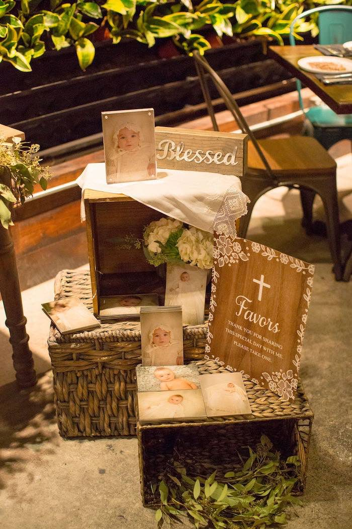 Stacked Wicker Favor Baskets from a Vintage Baptism Party on Kara's Party Ideas | KarasPartyIdeas.com (25)