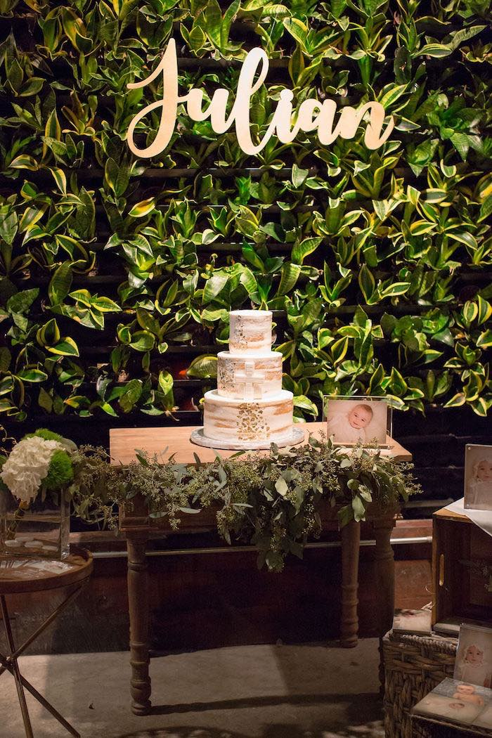 Rustic Cake Table from a Vintage Baptism Party on Kara's Party Ideas | KarasPartyIdeas.com (24)