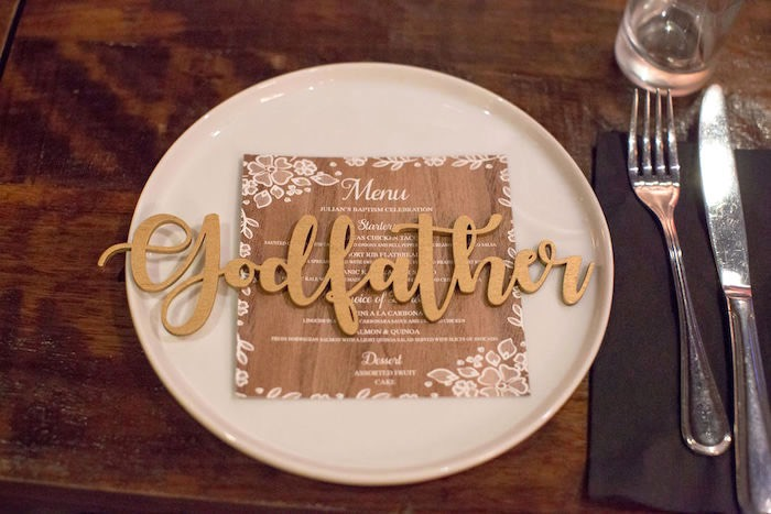 Wooden Name Plate - Table Setting from a Vintage Baptism Party on Kara's Party Ideas | KarasPartyIdeas.com (23)