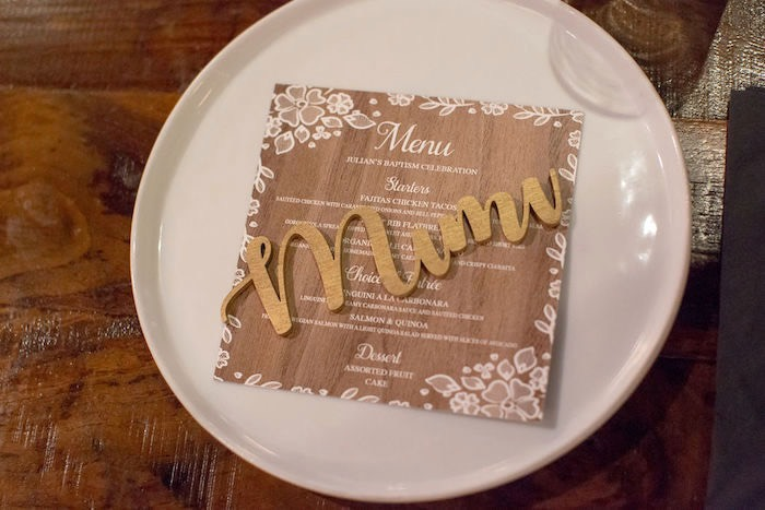 Wood Grained Menu from a Vintage Baptism Party on Kara's Party Ideas | KarasPartyIdeas.com (22)