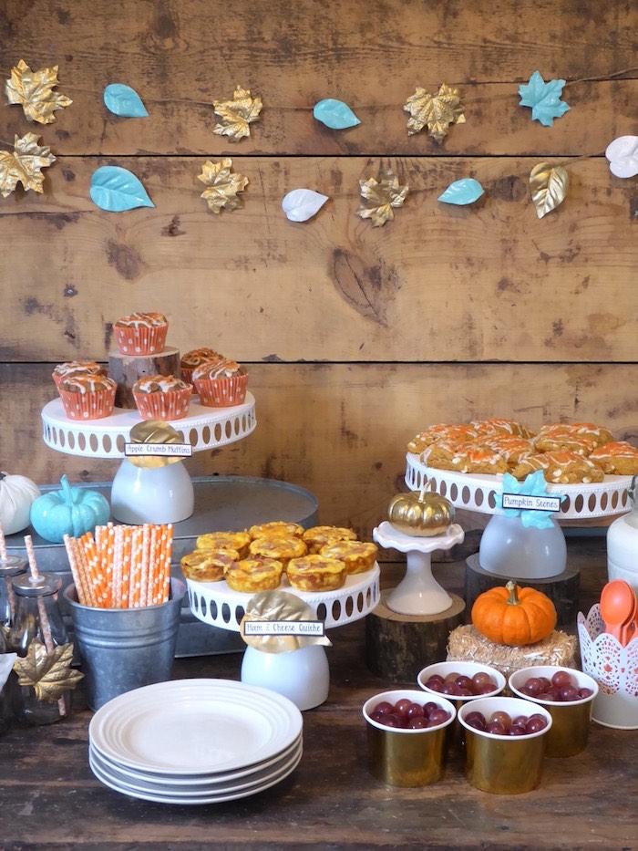 Dessert cake platters from a Rustic Fall Breakfast Bar on Kara's Party Ideas   KarasPartyIdeas.com