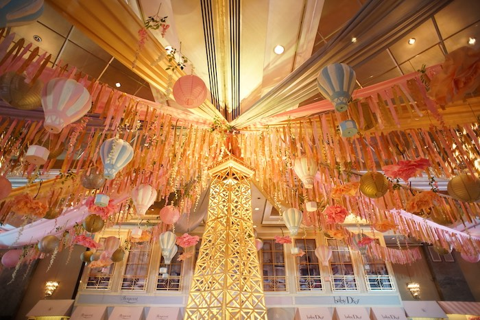 Ceiling swag with hot air balloons from a Prelude to Paris Birthday Party on Kara's Party Ideas | KarasPartyIdeas.com