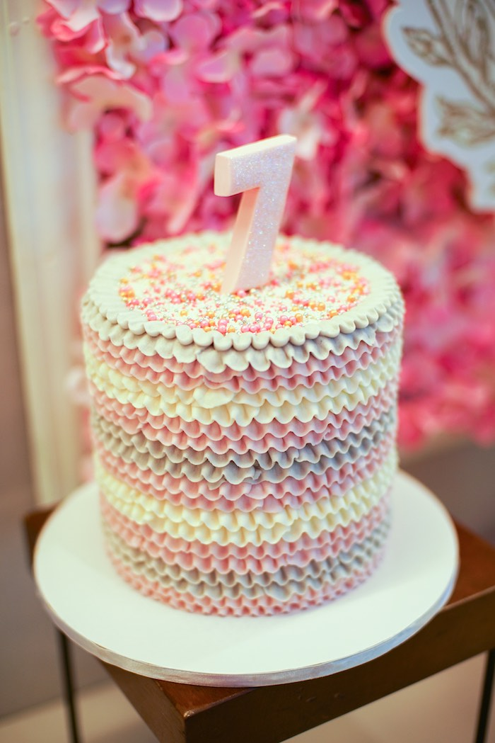 Ruffle Birthday Cake from a Prelude to Paris Birthday Party on Kara's Party Ideas | KarasPartyIdeas.com