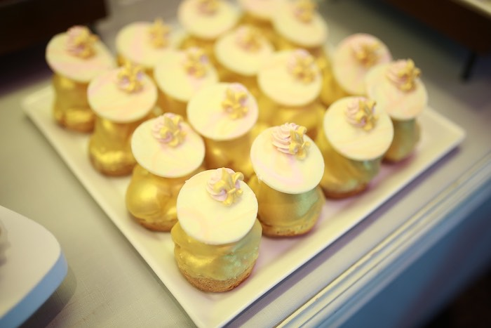 Gold Topped Cream Puffs with Fleur de Lys from a Prelude to Paris Birthday Party on Kara's Party Ideas | KarasPartyIdeas.com