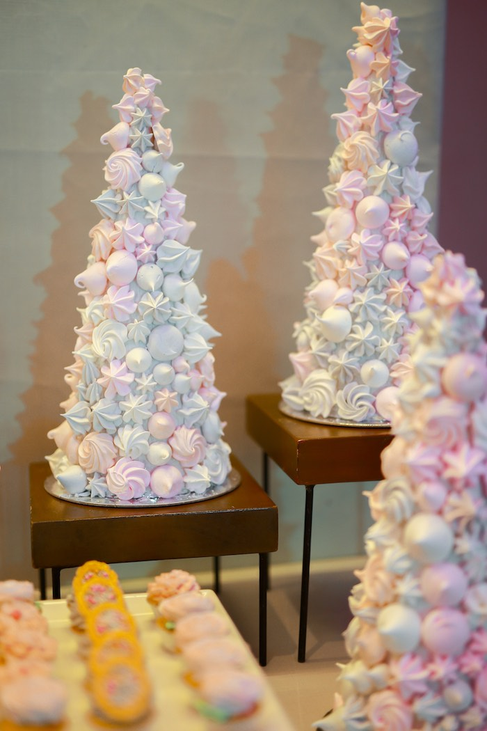 Meringue Towers from a Prelude to Paris Birthday Party on Kara's Party Ideas | KarasPartyIdeas.com