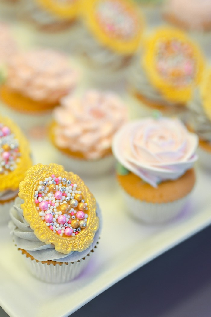 Mini Cupcakes from a Prelude to Paris Birthday Party on Kara's Party Ideas | KarasPartyIdeas.com