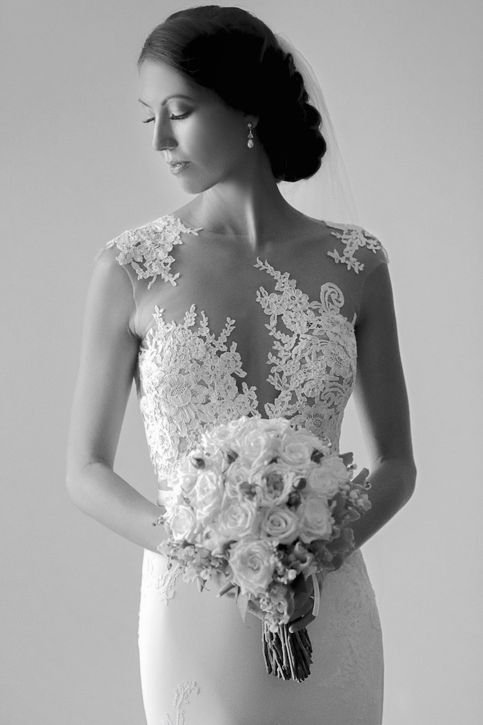 """Lace Bride from a """"Love at First Sight"""" Romantic Modern Wedding on Kara's Party Ideas 