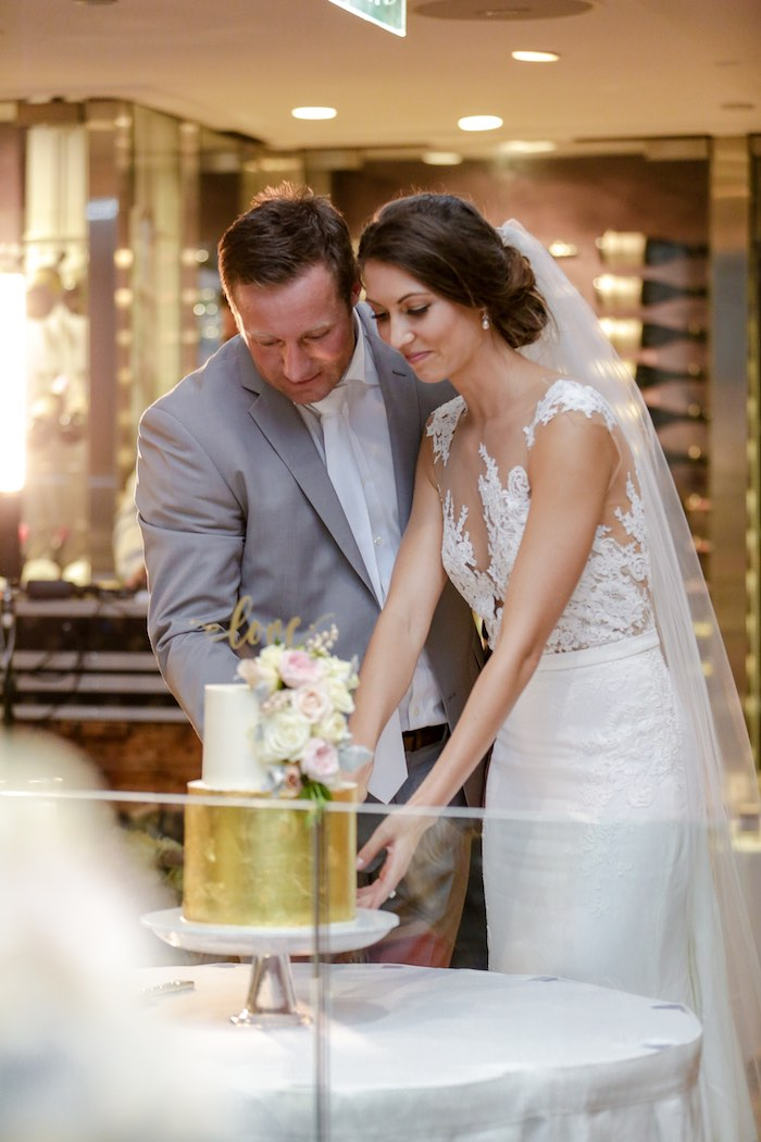 """Gold Floral Wedding Cake from a """"Love at First Sight"""" Romantic Modern Wedding on Kara's Party Ideas 
