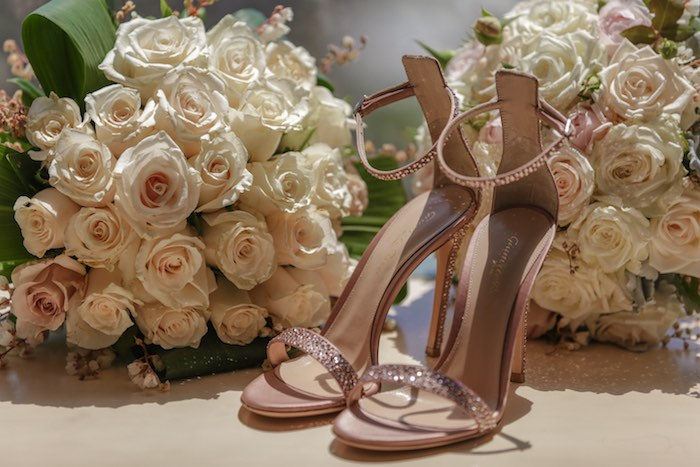 """Shoes and Bouquets from a """"Love at First Sight"""" Romantic Modern Wedding on Kara's Party Ideas 