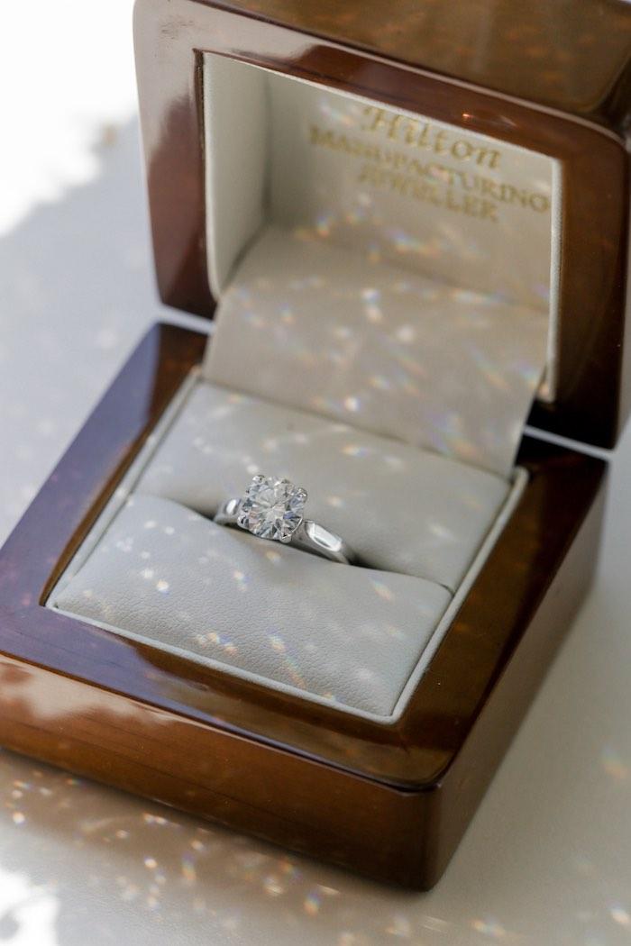 "Diamond Wedding Ring in Box from a ""Love at First Sight"" Romantic Modern Wedding on Kara's Party Ideas | KarasPartyIdeas.com (17)"