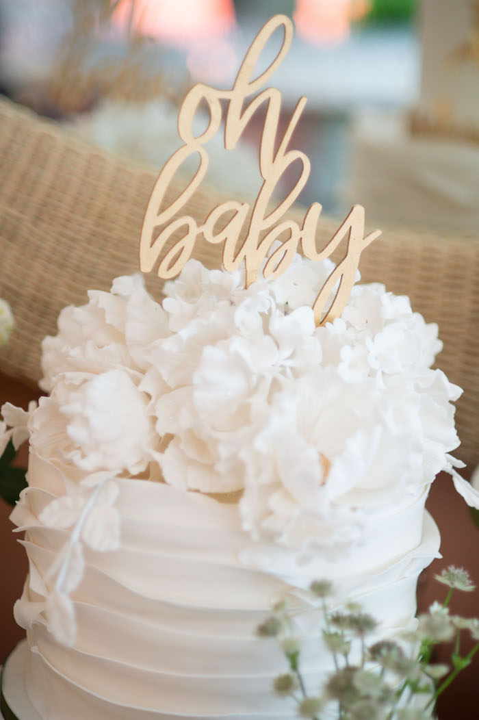 "White Floral Ruffle Cake from an ""Oh Baby"" Garden Oasis Baby Shower on Kara's Party Ideas 