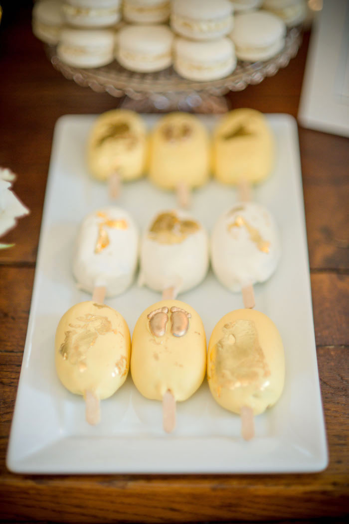 "Baby-inspired Cake Popsicles from an ""Oh Baby"" Garden Oasis Baby Shower on Kara's Party Ideas 