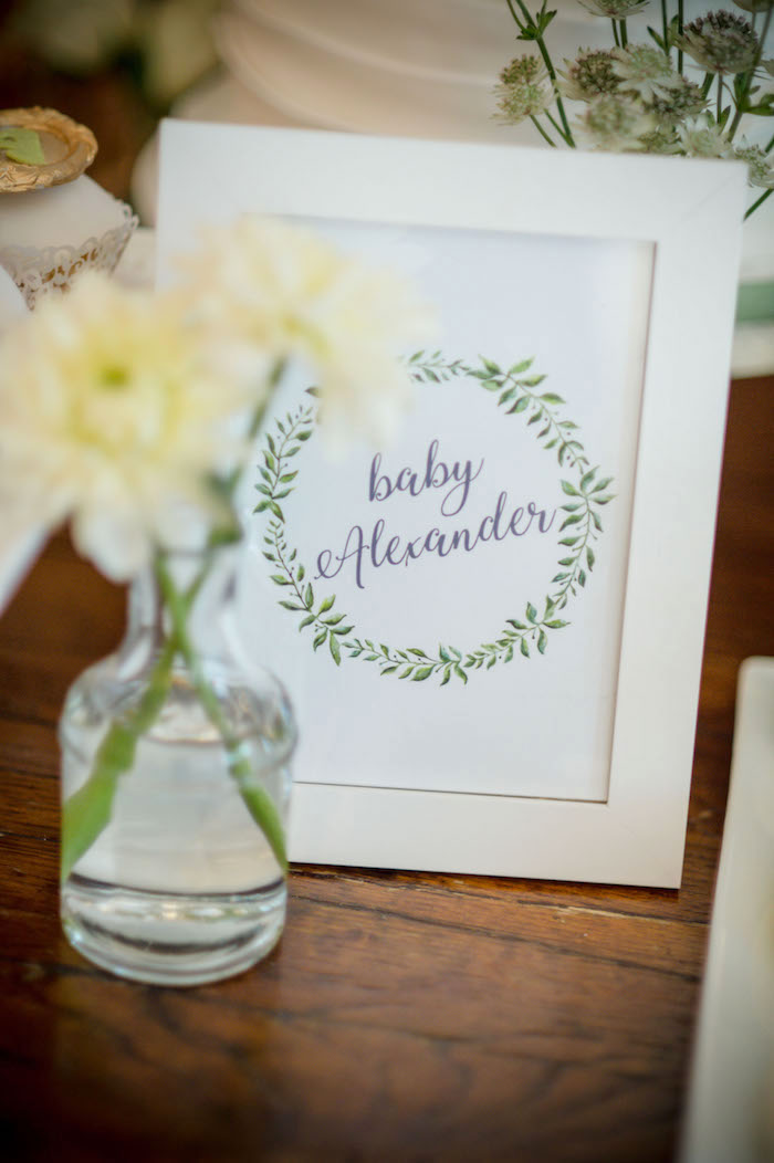 "Garden Baby Shower Print + Signage from an ""Oh Baby"" Garden Oasis Baby Shower on Kara's Party Ideas 