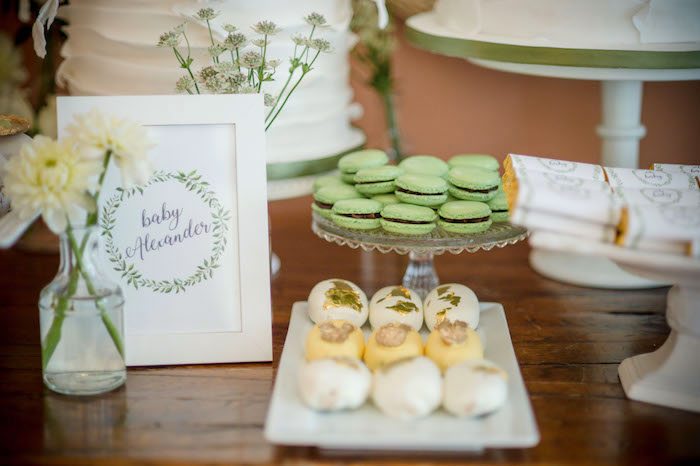 "Dessert Table from an ""Oh Baby"" Garden Oasis Baby Shower on Kara's Party Ideas 