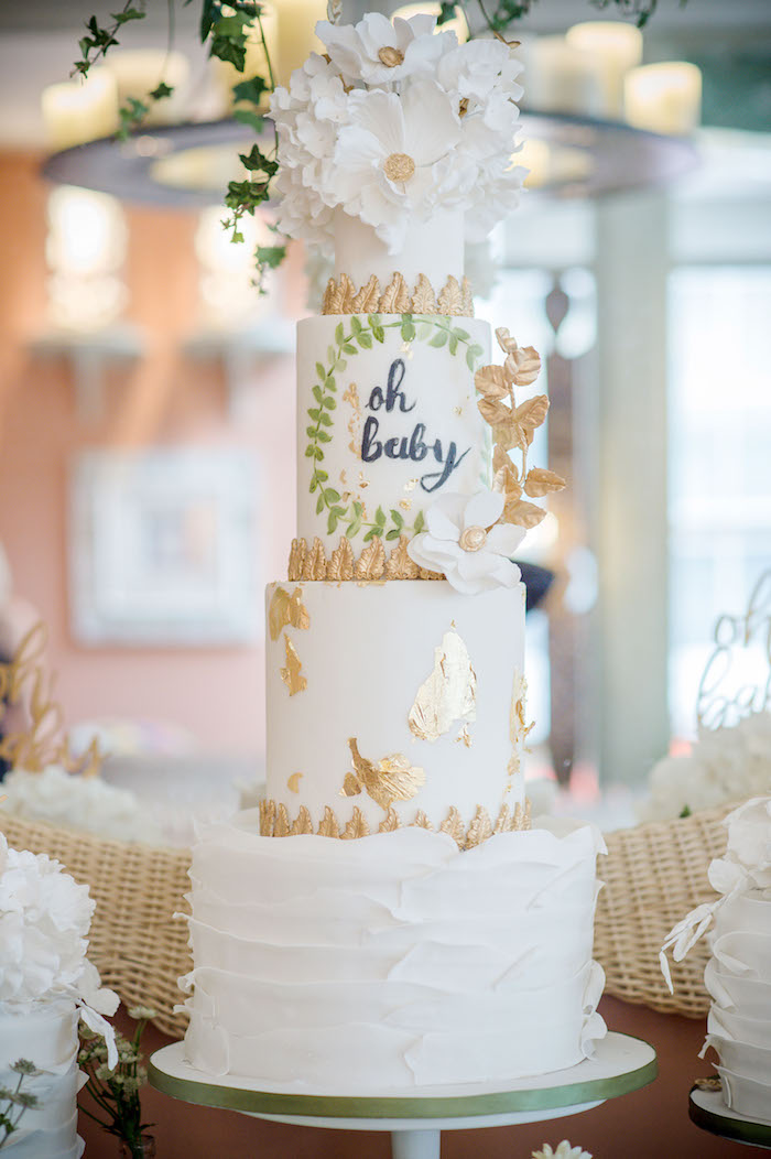 """Oh Baby Cake from an """"Oh Baby"""" Garden Oasis Baby Shower on Kara's Party Ideas   KarasPartyIdeas.com (17)"""