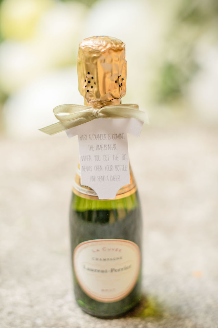 "Mini Favor Bottles from an ""Oh Baby"" Garden Oasis Baby Shower on Kara's Party Ideas 
