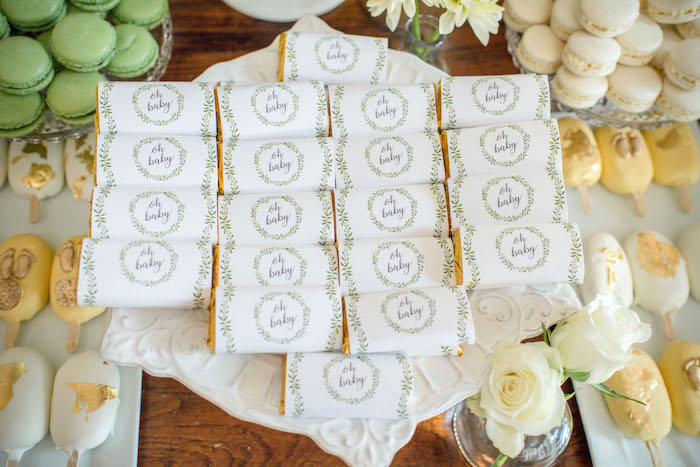 """Oh Baby-labeled Mini Candy Bars from an """"Oh Baby"""" Garden Oasis Baby Shower on Kara's Party Ideas   KarasPartyIdeas.com (11)"""