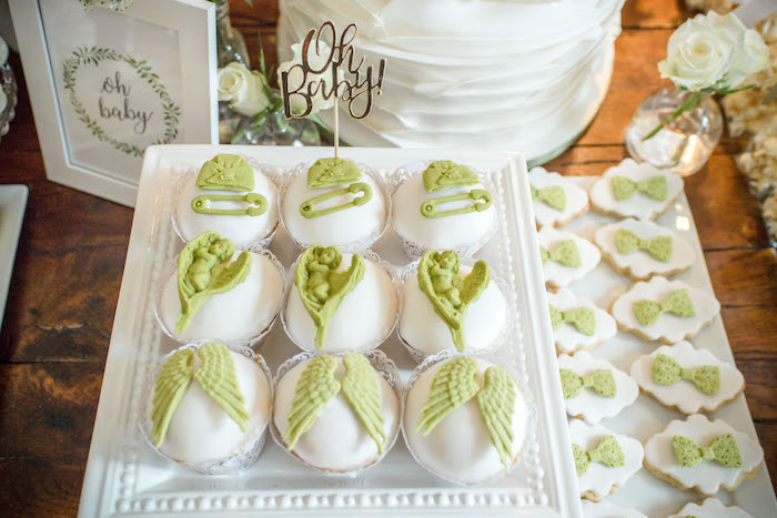 "Baby Themed Cupcakes & Cookies from an ""Oh Baby"" Garden Oasis Baby Shower on Kara's Party Ideas 