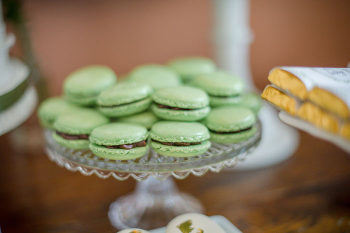 "Lime Green Macarons from an ""Oh Baby"" Garden Oasis Baby Shower on Kara's Party Ideas 