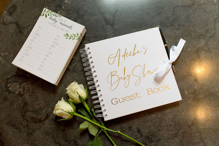 "Baby Shower Guest Book from an ""Oh Baby"" Garden Oasis Baby Shower on Kara's Party Ideas 