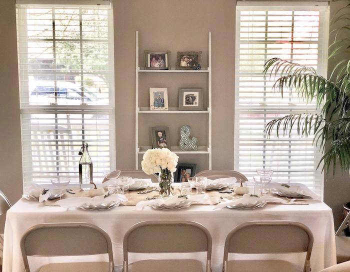 Farmhouse Themed Dining Table from a Rustic Elegant Farmhouse Baby Shower on Kara's Party Ideas | KarasPartyIdeas.com
