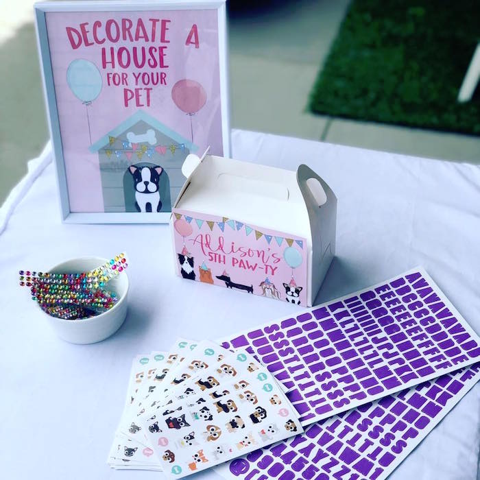 Puppy House Decoration Station from a 5th Birthday Puppy Paw-ty on Kara's Party Ideas | KarasPartyIdeas.com (19)