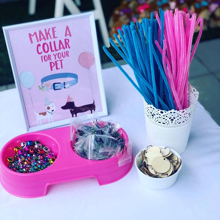 Pet Collar Making Station from a 5th Birthday Puppy Paw-ty on Kara's Party Ideas | KarasPartyIdeas.com (17)