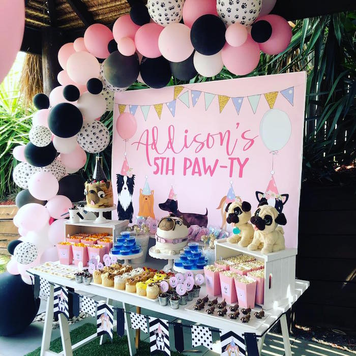 Doggy Themed Dessert Table from a 5th Birthday Puppy Paw-ty on Kara's Party Ideas | KarasPartyIdeas.com (16)