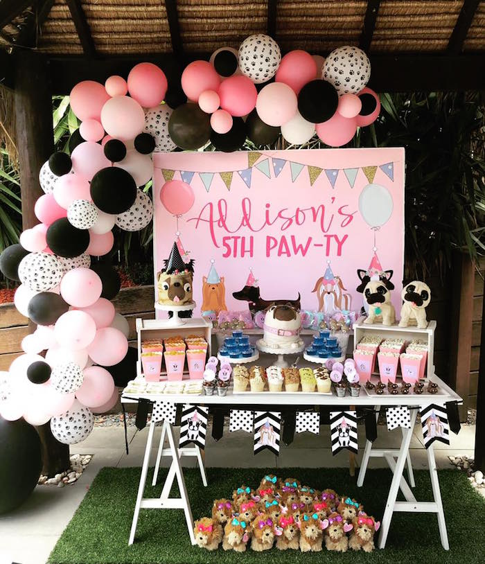 Puppy Themed Dessert Table from a 5th Birthday Puppy Paw-ty on Kara's Party Ideas | KarasPartyIdeas.com (14)
