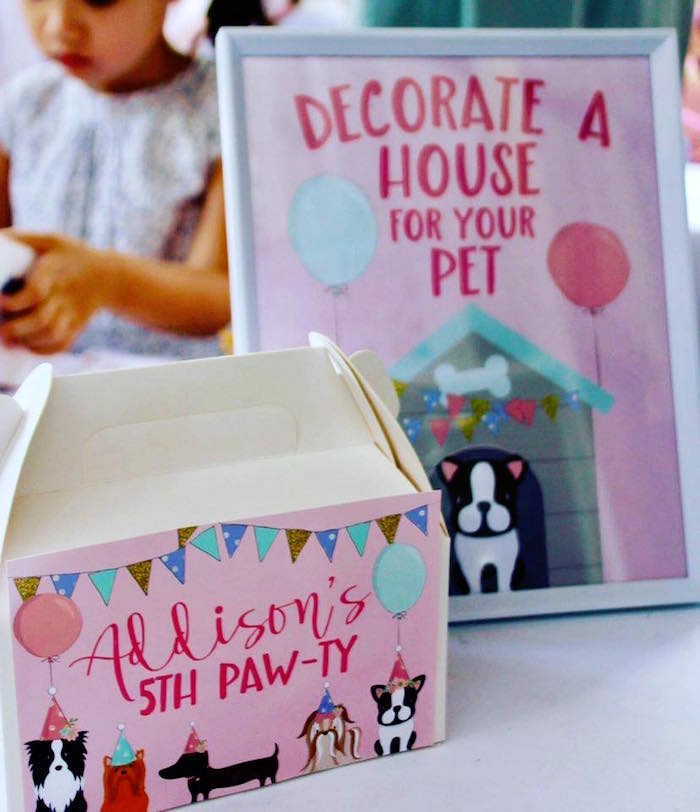 Personalized Puppy Gable Box from a 5th Birthday Puppy Paw-ty on Kara's Party Ideas | KarasPartyIdeas.com (13)