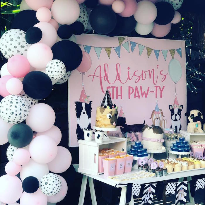 Puppy Ballon Banner + Dessert Table from a 5th Birthday Puppy Paw-ty on Kara's Party Ideas | KarasPartyIdeas.com (21)