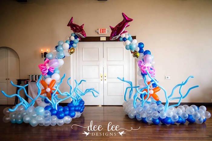 Under the Sea Balloon Arch from a Baby Shark Birthday Party on Kara's Party Ideas | KarasPartyIdeas.com (9)