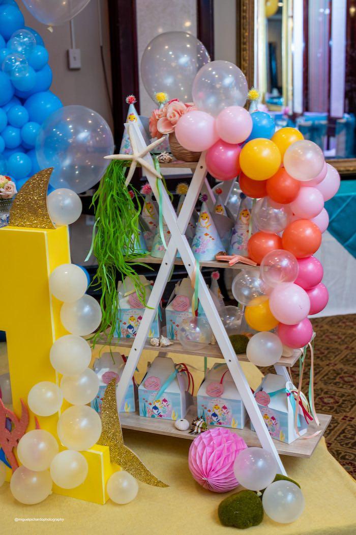 Under the Sea Themed Favor Shelf from a Baby Shark Birthday Party on Kara's Party Ideas   KarasPartyIdeas.com (14)