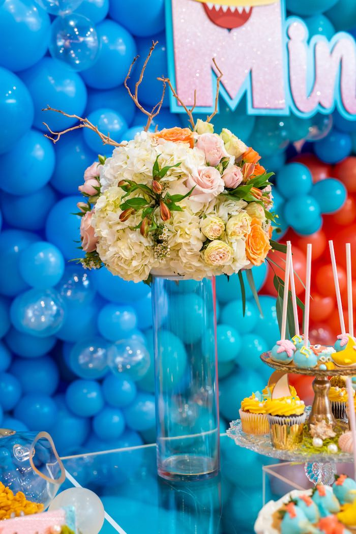Under the Sea Table Blooms from a Baby Shark Birthday Party on Kara's Party Ideas | KarasPartyIdeas.com (12)