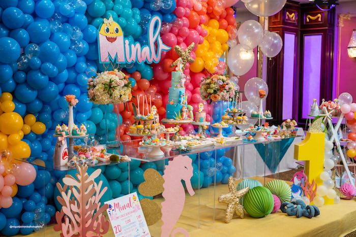 Under the Sea Dessert Table from a Baby Shark Birthday Party on Kara's Party Ideas   KarasPartyIdeas.com (11)